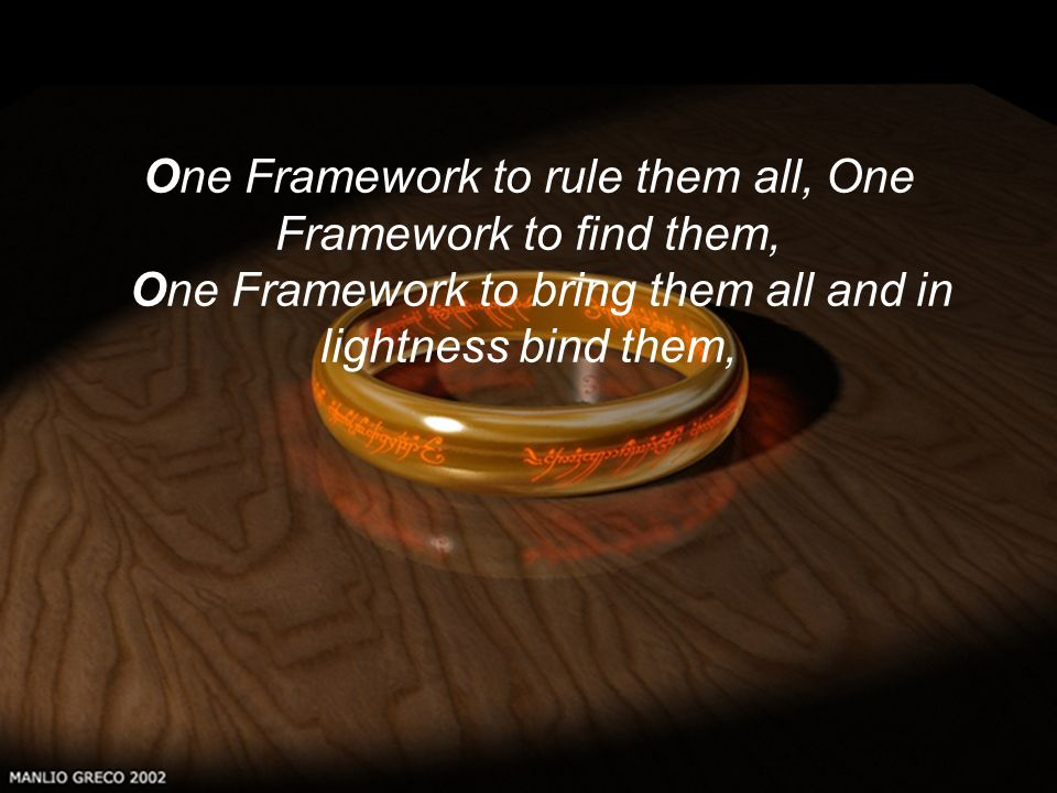 Réunion biblio LISC11/02/2002 One Framework to rule them all, One Framework to find them, One Framework to bring them all and in lightness bind them,