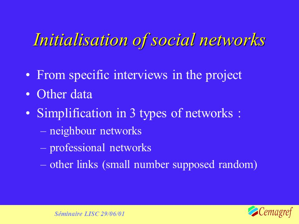 Séminaire LISC 29/06/01 Initialisation of social networks From specific interviews in the project Other data Simplification in 3 types of networks : –neighbour networks –professional networks –other links (small number supposed random)