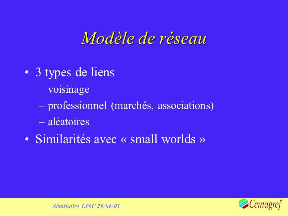 Séminaire LISC 29/06/01 Initialisation of expectations From interviews Expertise : expectation about independence will be negative Use of random distributions (normal or gamma)