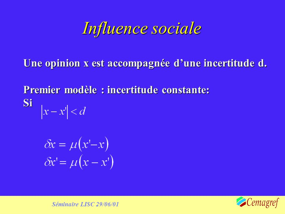 Séminaire LISC 29/06/01 Method Define institutional scenarios corresponding to the data Define ranges of possible initialisation for expectations Determine the sets of model parameters best fitting the data of adoption Perform sensitivity analysis in the neighbourhood of these values