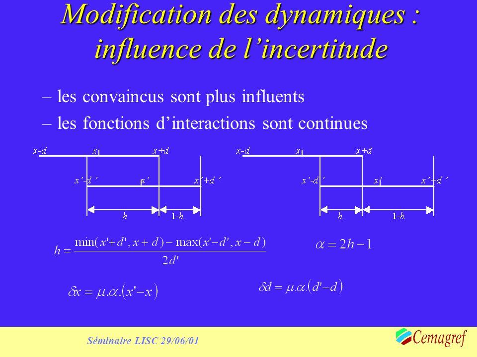 Séminaire LISC 29/06/01 Modification des dynamiques : influence de lincertitude –les convaincus sont plus influents –les fonctions dinteractions sont continues