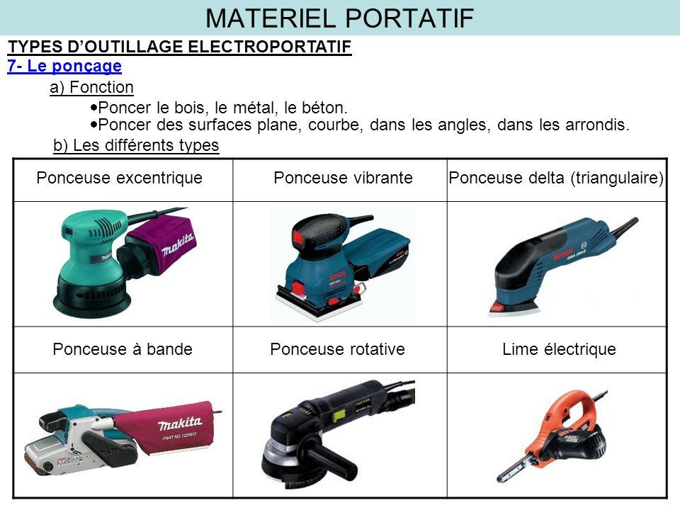 MATERIEL PORTATIF TYPES DOUTILLAGE ELECTROPORTATIF 7- Le ponçage a) Fonction b) Les différents types Poncer le bois, le métal, le béton. Poncer des su
