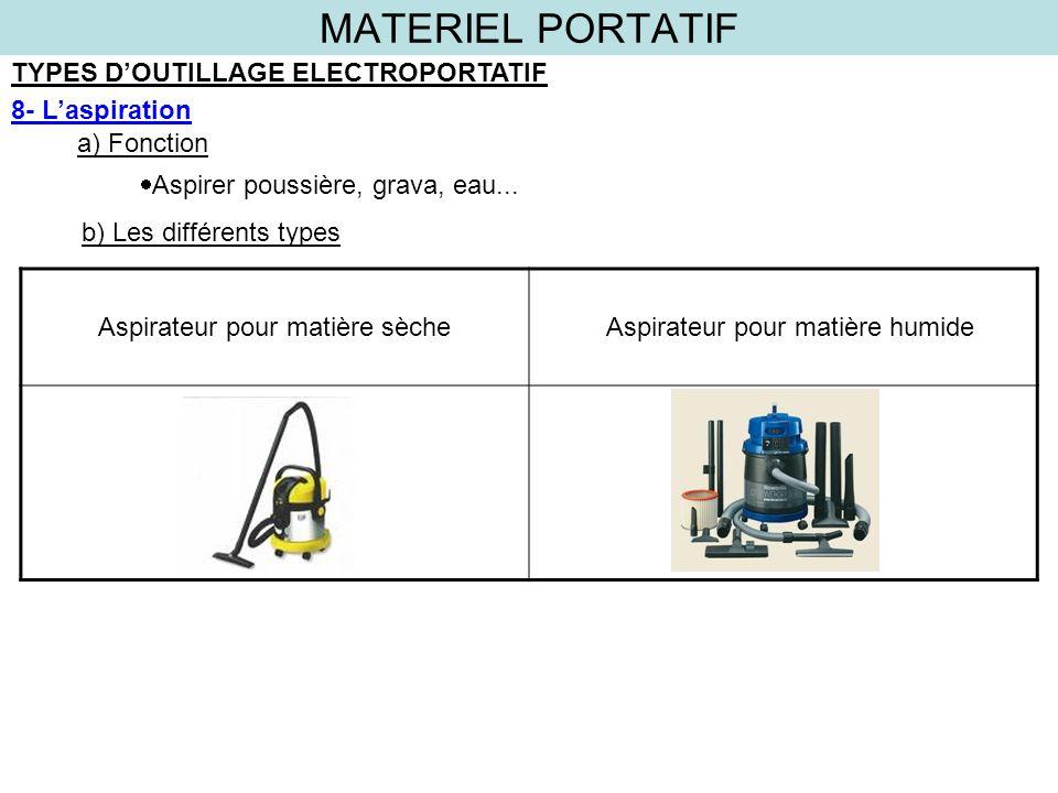 MATERIEL PORTATIF TYPES DOUTILLAGE ELECTROPORTATIF 8- Laspiration a) Fonction b) Les différents types Aspirer poussière, grava, eau... Aspirateur pour