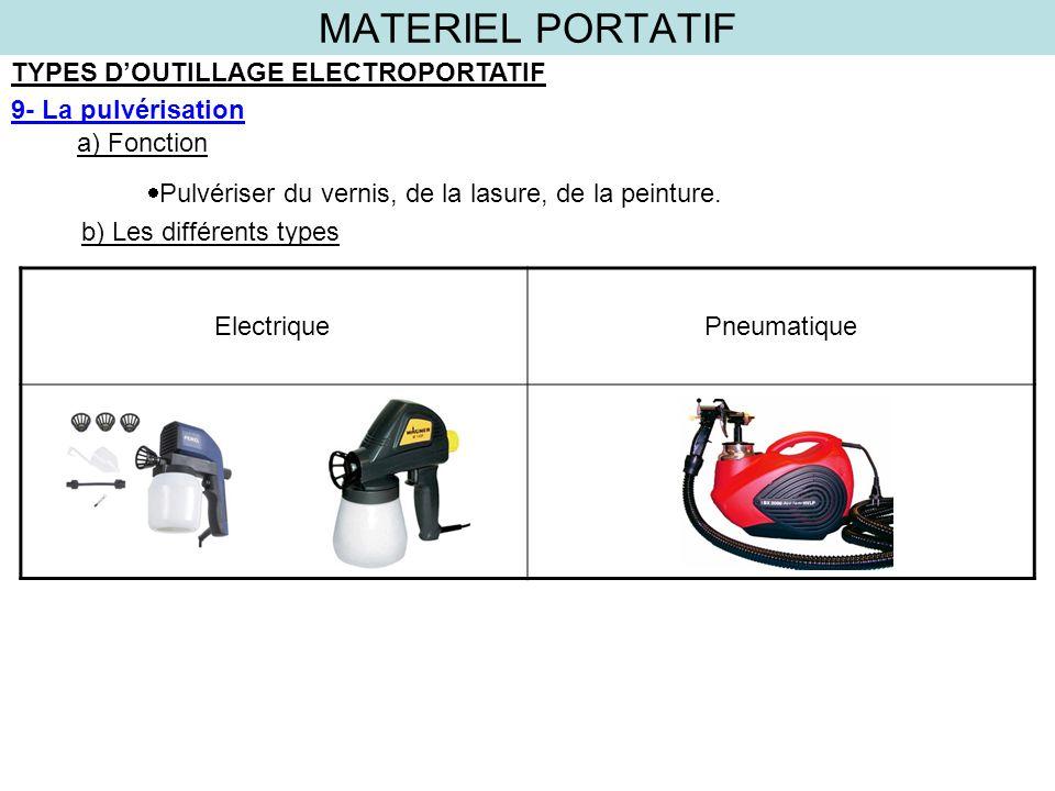 MATERIEL PORTATIF TYPES DOUTILLAGE ELECTROPORTATIF 9- La pulvérisation a) Fonction b) Les différents types Pulvériser du vernis, de la lasure, de la p