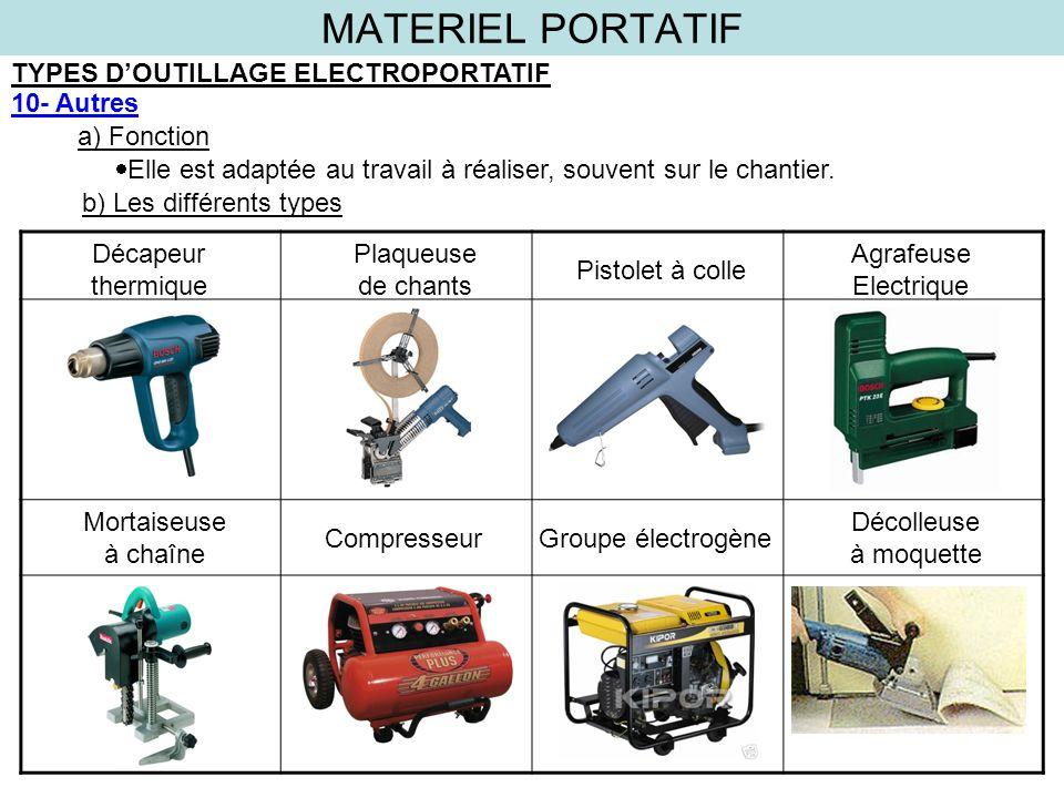 MATERIEL PORTATIF TYPES DOUTILLAGE ELECTROPORTATIF 10- Autres a) Fonction b) Les différents types Elle est adaptée au travail à réaliser, souvent sur
