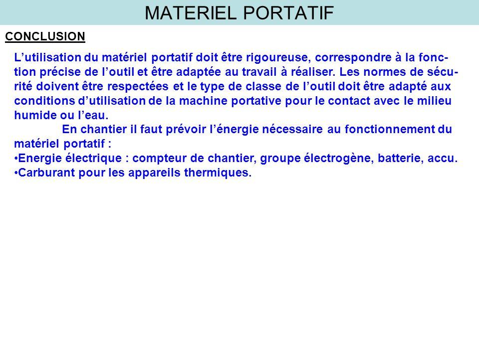 MATERIEL PORTATIF CONCLUSION Lutilisation du matériel portatif doit être rigoureuse, correspondre à la fonc- tion précise de loutil et être adaptée au