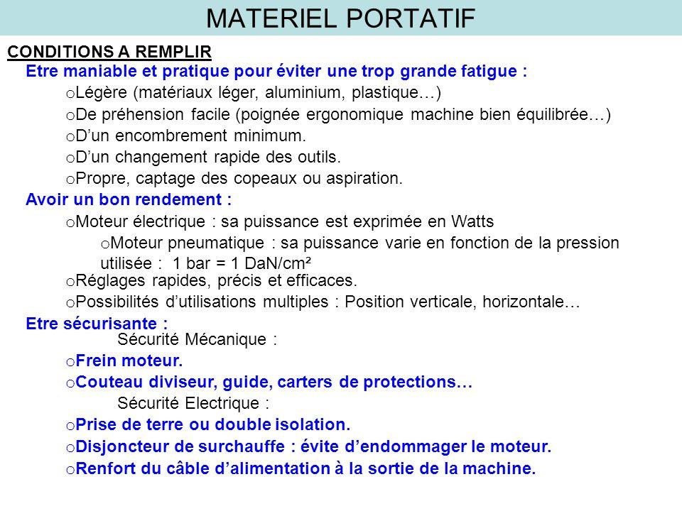 MATERIEL PORTATIF CONDITIONS A REMPLIR Etre maniable et pratique pour éviter une trop grande fatigue : o Légère (matériaux léger, aluminium, plastique