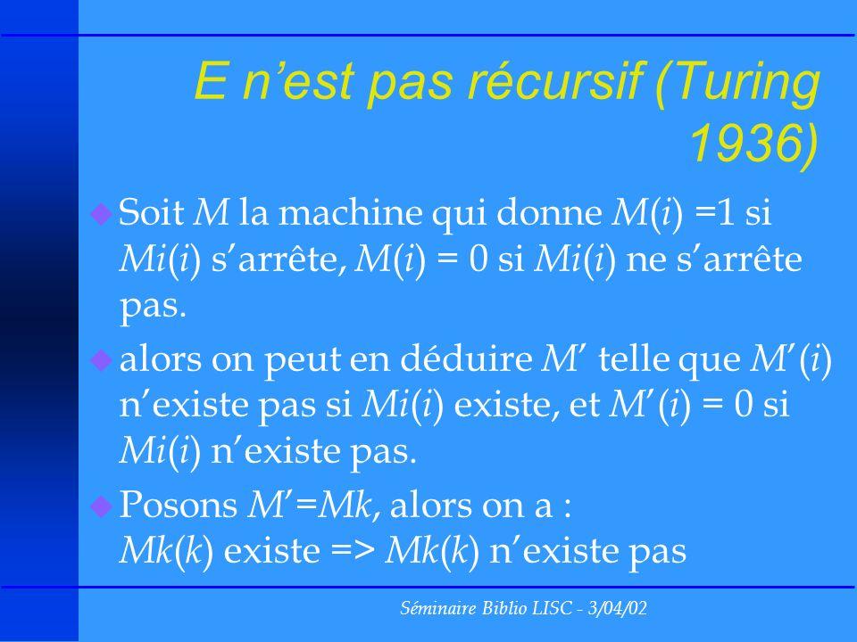 Séminaire Biblio LISC - 3/04/02 E nest pas récursif (Turing 1936) u Soit M la machine qui donne M ( i ) =1 si Mi ( i ) sarrête, M ( i ) = 0 si Mi ( i ) ne sarrête pas.