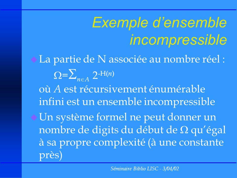 Séminaire Biblio LISC - 3/04/02 Exemple densemble incompressible u La partie de N associée au nombre réel : = n A 2 -H( n ) où A est récursivement énumérable infini est un ensemble incompressible u Un système formel ne peut donner un nombre de digits du début de quégal à sa propre complexité (à une constante près)