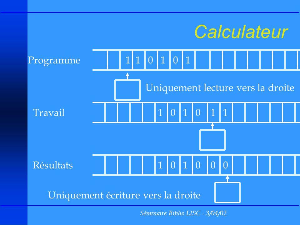 Séminaire Biblio LISC - 3/04/02 Ensemble approximable u A est approximable si et seulement si A est fini ou contient un ensemble infini récursivement énumérable u Exemple : u Lensemble des formules vraies pour larithmétique est approximable, mais pas récursivement énumérable