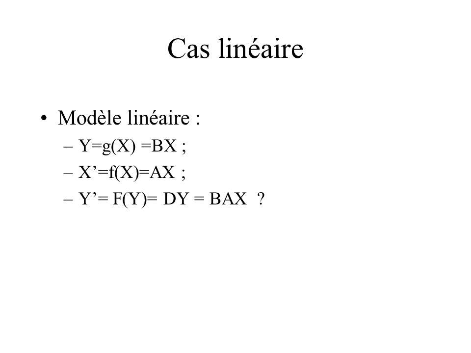 Cas linéaire Modèle linéaire : –Y=g(X) =BX ; –X=f(X)=AX ; –Y= F(Y)= DY = BAX ?