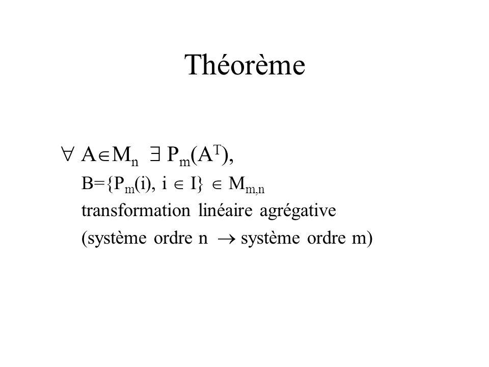 Théorème A M n P m (A T ), B={P m (i), i I} M m,n transformation linéaire agrégative (système ordre n système ordre m)