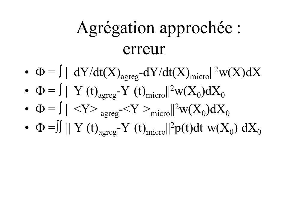Agrégation approchée : erreur = || dY/dt(X) agreg -dY/dt(X) micro || 2 w(X)dX = || Y (t) agreg -Y (t) micro || 2 w(X 0 )dX 0 = || agreg - micro || 2 w(X 0 )dX 0 = || Y (t) agreg -Y (t) micro || 2 p(t)dt w(X 0 ) dX 0