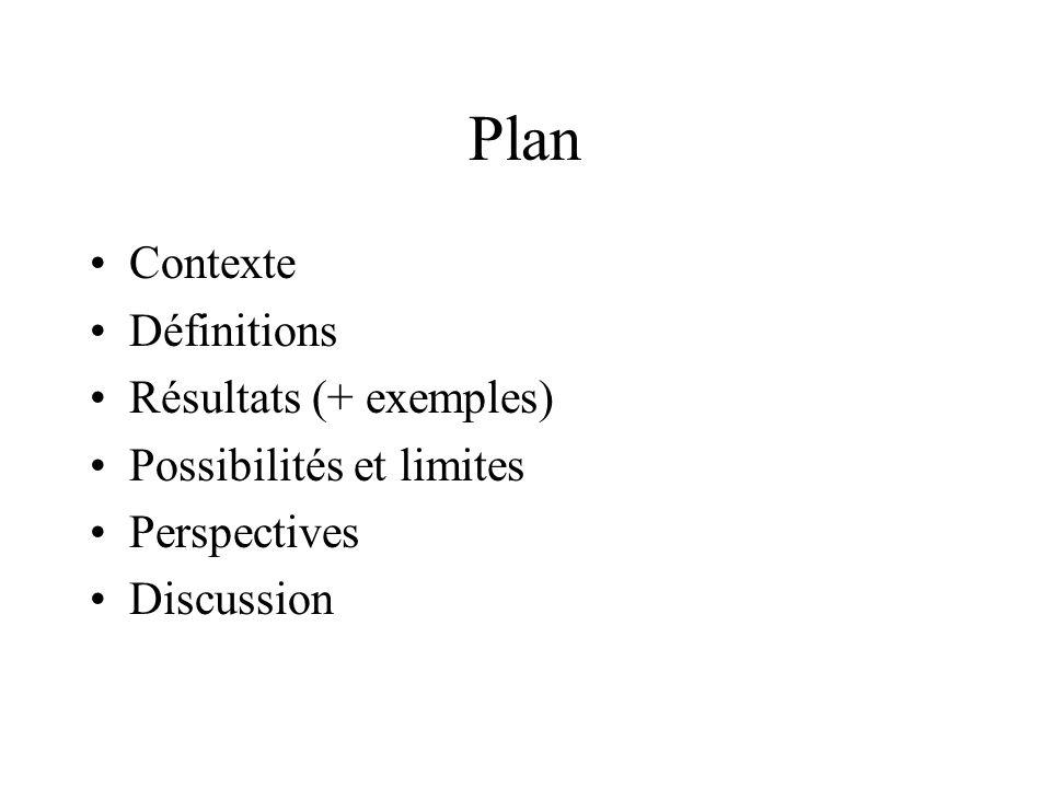 Plan Contexte Définitions Résultats (+ exemples) Possibilités et limites Perspectives Discussion