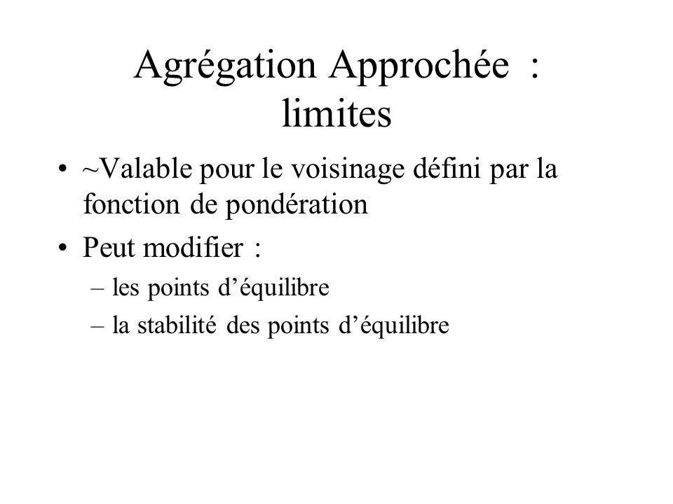 Agrégation Approchée : limites ~Valable pour le voisinage défini par la fonction de pondération Peut modifier : –les points déquilibre –la stabilité d