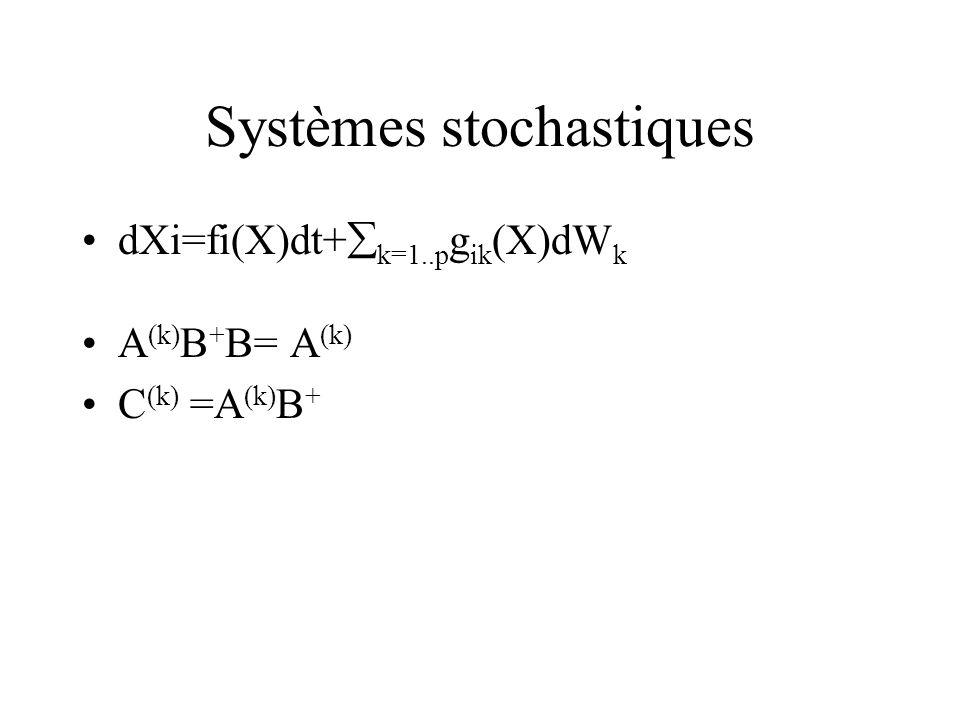 Systèmes stochastiques dXi=fi(X)dt+ k=1..p g ik (X)dW k A (k) B + B= A (k) C (k) =A (k) B +
