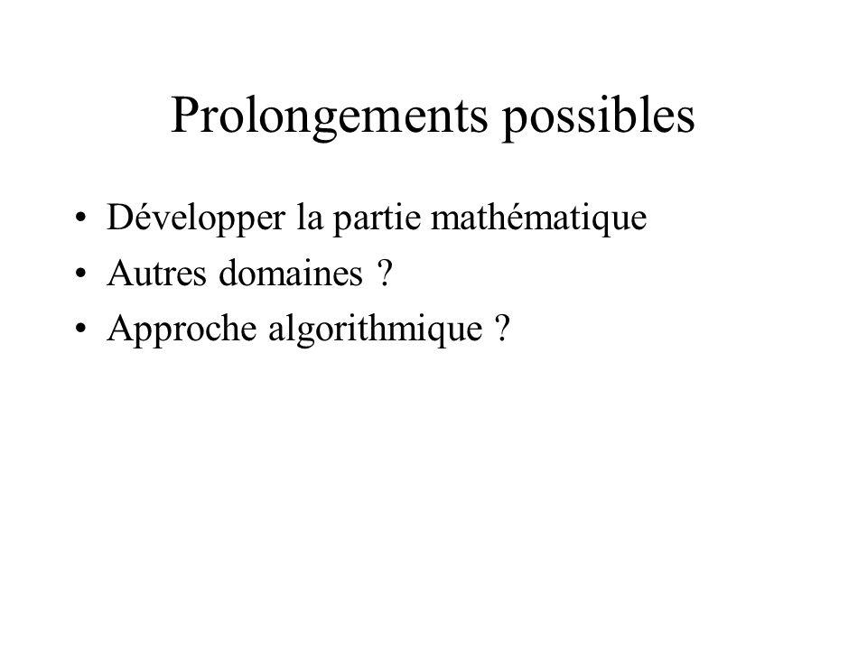Prolongements possibles Développer la partie mathématique Autres domaines ? Approche algorithmique ?