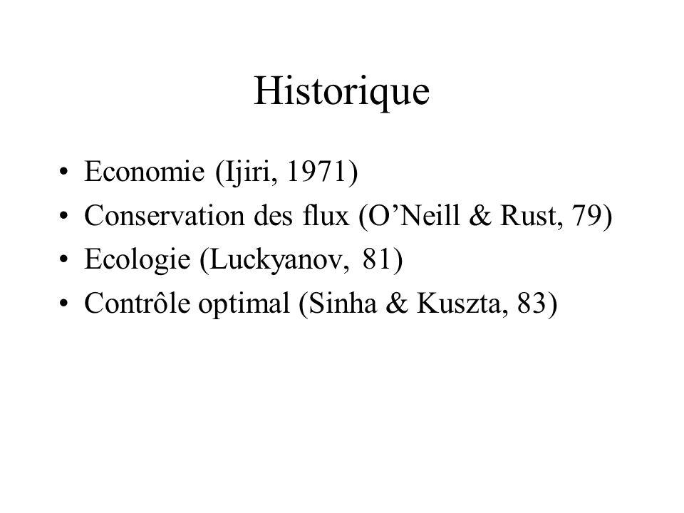 Historique Economie (Ijiri, 1971) Conservation des flux (ONeill & Rust, 79) Ecologie (Luckyanov, 81) Contrôle optimal (Sinha & Kuszta, 83)