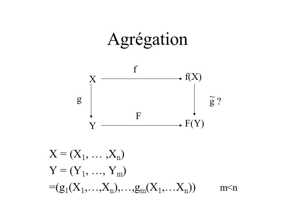 Agrégation X = (X 1, …,X n ) Y = (Y 1, …, Y m ) =(g 1 (X 1,…,X n ),…,g m (X 1,…X n )) m<n X Y f(X) F(Y) f F g g ? ~