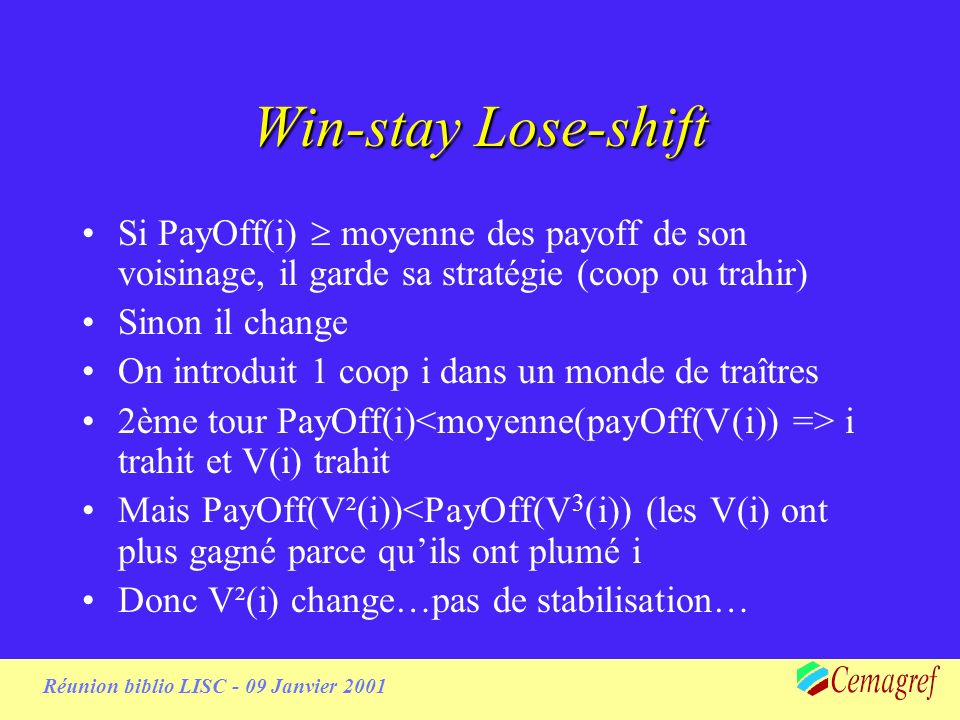 Réunion biblio LISC - 09 Janvier 2001 Win-stay Lose-shift Si PayOff(i) moyenne des payoff de son voisinage, il garde sa stratégie (coop ou trahir) Sin