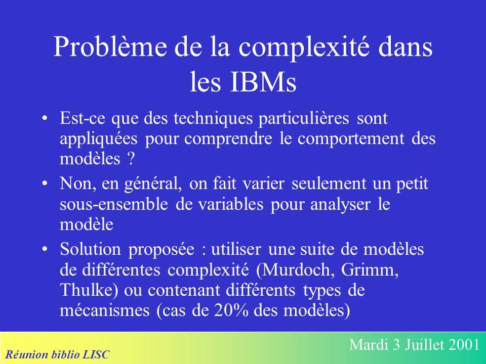 Réunion biblio LISC Mardi 3 Juillet 2001 Problème de la complexité dans les IBMs Est-ce que des techniques particulières sont appliquées pour comprendre le comportement des modèles .