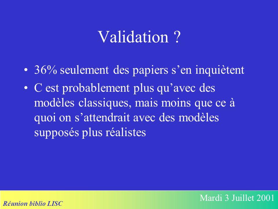 Réunion biblio LISC Mardi 3 Juillet 2001 Validation ? 36% seulement des papiers sen inquiètent C est probablement plus quavec des modèles classiques,