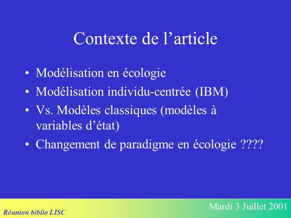 Réunion biblio LISC Mardi 3 Juillet 2001 Contexte de larticle Modélisation en écologie Modélisation individu-centrée (IBM) Vs.
