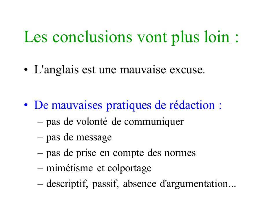 Les conclusions vont plus loin : L'anglais est une mauvaise excuse. De mauvaises pratiques de rédaction : –pas de volonté de communiquer –pas de messa