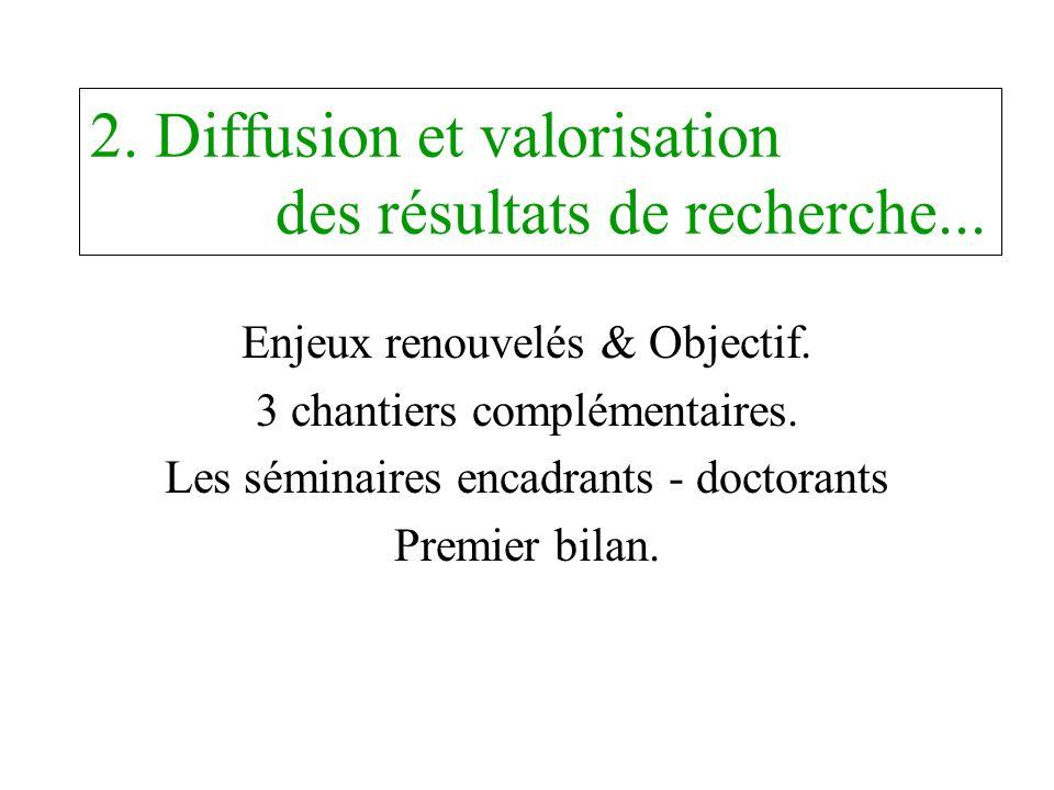 2. Diffusion et valorisation des résultats de recherche... Enjeux renouvelés & Objectif. 3 chantiers complémentaires. Les séminaires encadrants - doct