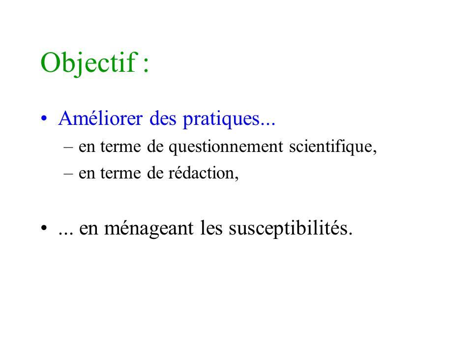 Objectif : Améliorer des pratiques... –en terme de questionnement scientifique, –en terme de rédaction,... en ménageant les susceptibilités.