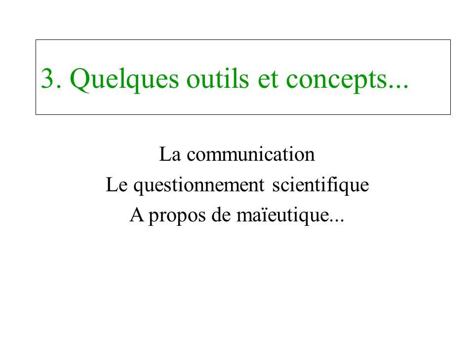 3. Quelques outils et concepts... La communication Le questionnement scientifique A propos de maïeutique...