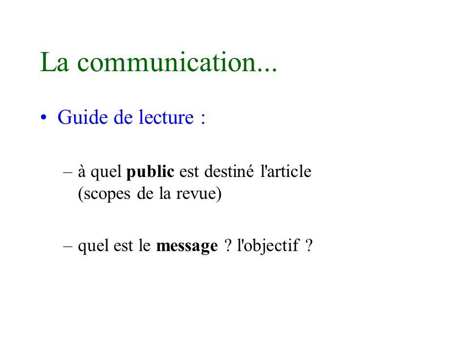 La communication... Guide de lecture : –à quel public est destiné l'article (scopes de la revue) –quel est le message ? l'objectif ?