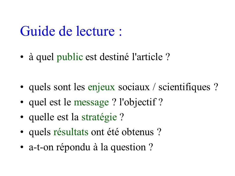 Guide de lecture : à quel public est destiné l'article ? quels sont les enjeux sociaux / scientifiques ? quel est le message ? l'objectif ? quelle est