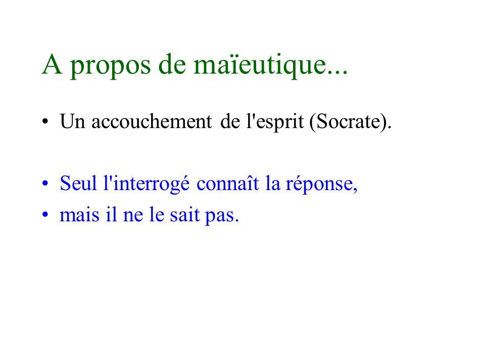 A propos de maïeutique... Un accouchement de l'esprit (Socrate). Seul l'interrogé connaît la réponse, mais il ne le sait pas.