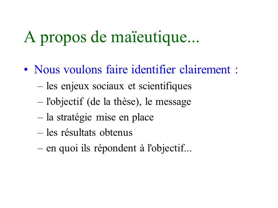 A propos de maïeutique... Nous voulons faire identifier clairement : –les enjeux sociaux et scientifiques –l'objectif (de la thèse), le message –la st