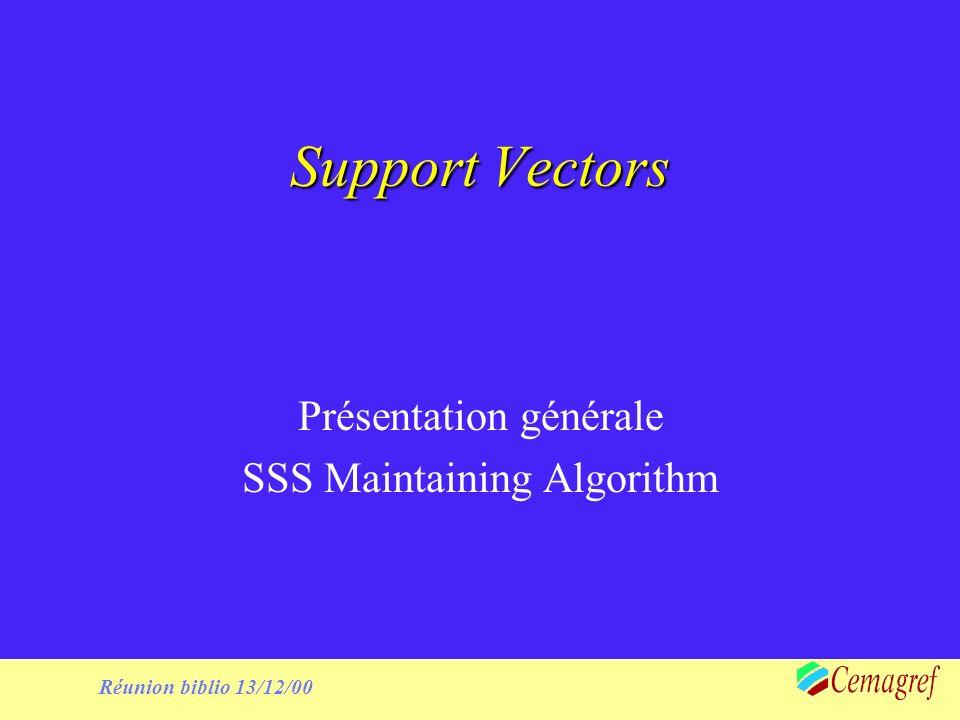 1 Réunion biblio 13/12/00 Support Vectors Présentation générale SSS Maintaining Algorithm