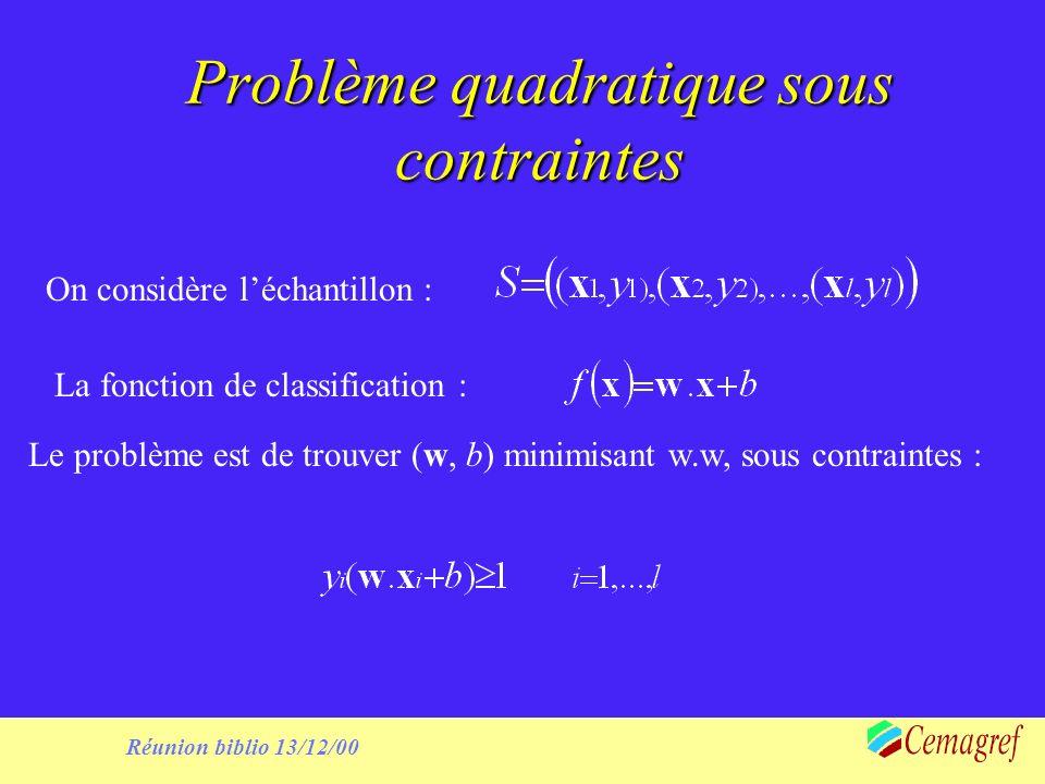 Réunion biblio 13/12/00 Transformation lagrangienne Le problème devient :Minimiser : Sous contraintes :