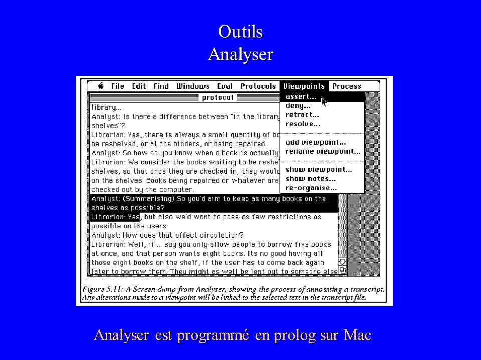 Outils Analyser Analyser est programmé en prolog sur Mac