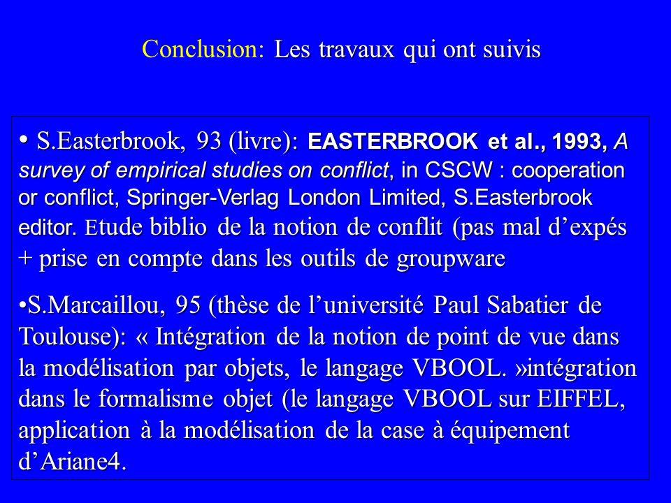 Les travaux qui ont suivis Conclusion: Les travaux qui ont suivis S.Easterbrook, 93 (livre): EASTERBROOK et al., 1993, A survey of empirical studies o