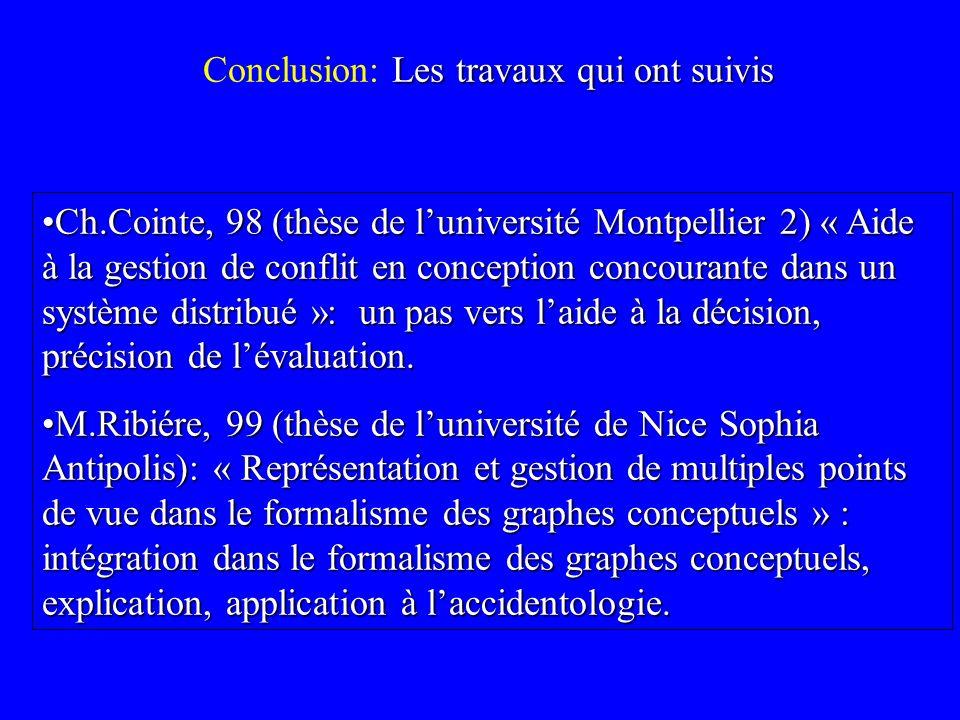 Les travaux qui ont suivis Conclusion: Les travaux qui ont suivis Ch.Cointe, 98 (thèse de luniversité Montpellier 2) « Aide à la gestion de conflit en