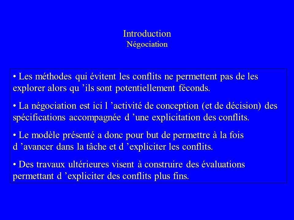 Introduction Négociation Les méthodes qui évitent les conflits ne permettent pas de les explorer alors qu ils sont potentiellement féconds. Les méthod