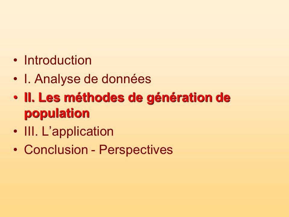 Introduction I. Analyse de données II. Les méthodes de génération de populationII. Les méthodes de génération de population III. Lapplication Conclusi