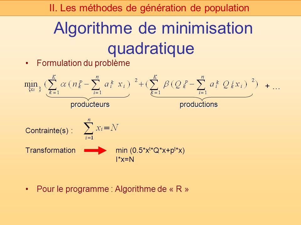 Algorithme de minimisation quadratique Formulation du problème Transformationmin (0.5*x t *Q*x+p t *x) I*x=N Pour le programme : Algorithme de « R » II.