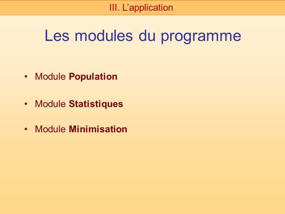 Les modules du programme Module Population Module Statistiques Module Minimisation III. Lapplication