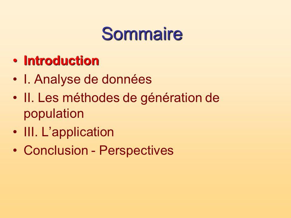 Sommaire IntroductionIntroduction I. Analyse de données II. Les méthodes de génération de population III. Lapplication Conclusion - Perspectives
