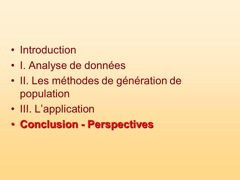 Introduction I. Analyse de données II. Les méthodes de génération de population III. Lapplication Conclusion - PerspectivesConclusion - Perspectives