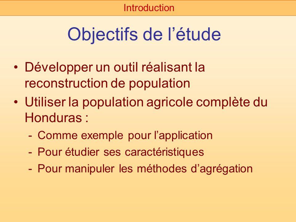 Objectifs de létude Développer un outil réalisant la reconstruction de population Utiliser la population agricole complète du Honduras : -Comme exempl