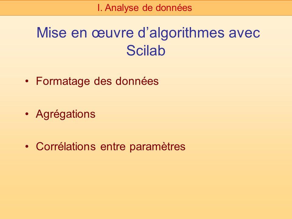 Mise en œuvre dalgorithmes avec Scilab Formatage des données Agrégations Corrélations entre paramètres I. Analyse de données