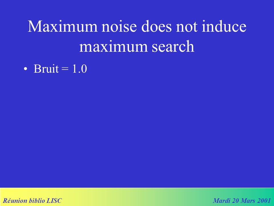 Réunion biblio LISCMardi 20 Mars 2001 Maximum noise does not induce maximum search Bruit = 1.0