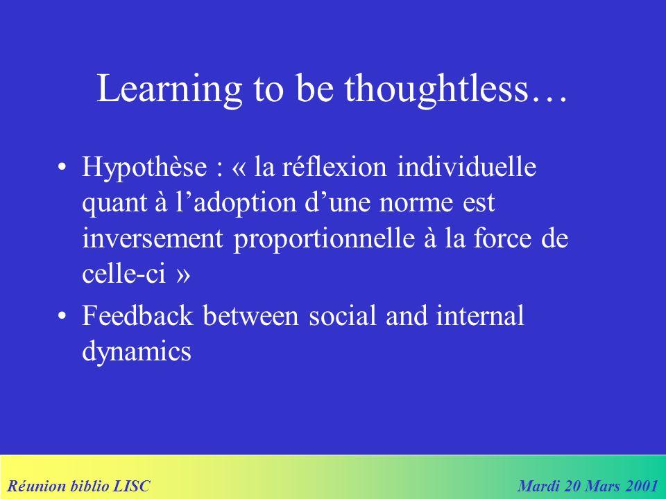 Réunion biblio LISCMardi 20 Mars 2001 Objectifs du modèle Les agents : –Apprennent « how to behave » –Apprennent « how much to think about how to behave »